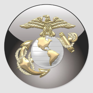 USMC Eagle, globo y ancla (EGA) [3D] Pegatinas Redondas