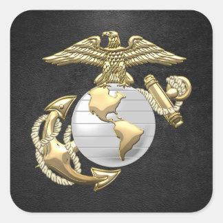 USMC Eagle, globo y ancla (EGA) [3D] Pegatina Cuadradas