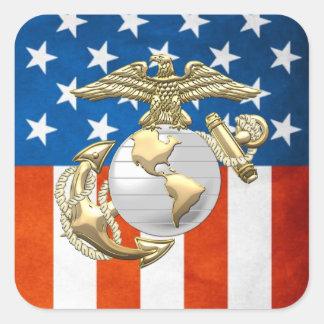 USMC Eagle, globo y ancla (EGA) [3D] Pegatina Cuadrada