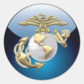 USMC Eagle, globo y ancla (EGA) [3D] Pegatina Redonda