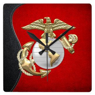 USMC Eagle, globo y ancla (EGA) [3D] Reloj Cuadrado