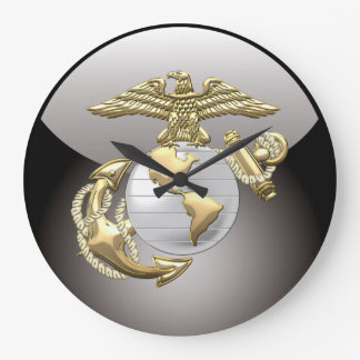 USMC Eagle, globo y ancla (EGA) [3D] Reloj Redondo Grande
