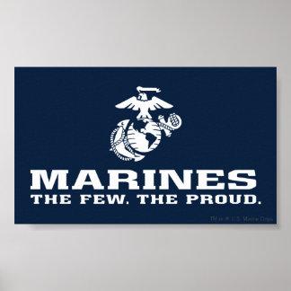 USMC el pocos el logotipo orgulloso apilado - blan Posters