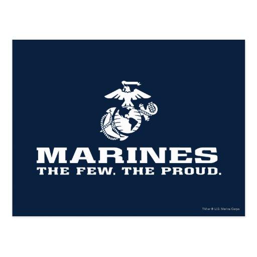 USMC el pocos el logotipo orgulloso apilado - blan Postales