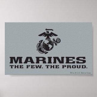 USMC el pocos el logotipo orgulloso apilado - negr Póster