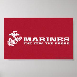 USMC el pocos el logotipo orgulloso - blanco Poster