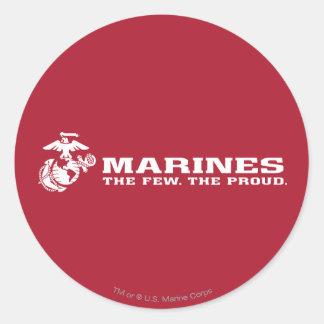 USMC el pocos el logotipo orgulloso - blanco Pegatina Redonda