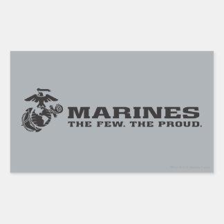 USMC el pocos el logotipo orgulloso - negro Pegatina Rectangular