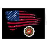 USMC Emblem and U S Flag Greeting Card