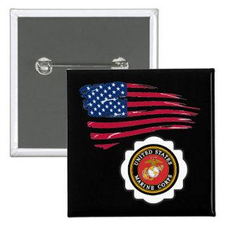 USMC Emblem and US Flag Button