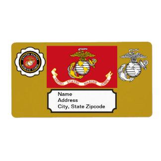 USMC Emblem, Seal and Flag Label