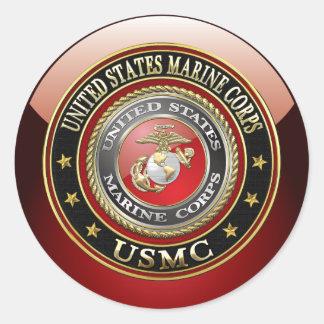 USMC Emblem [Special Edition] [3D] Classic Round Sticker