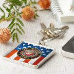 USMC Emblem [Special Edition] [3D] Silver-Colored Square Keychain
