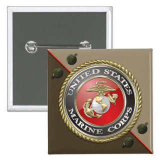 USMC Emblem & Uniform [3D] Pinback Buttons