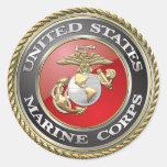 USMC Emblem & Uniform [3D] Classic Round Sticker