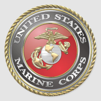 USMC Emblem & Uniform [3D] Classic Round Sticker
