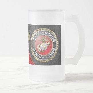 USMC Emblem & Uniform [3D] 16 Oz Frosted Glass Beer Mug