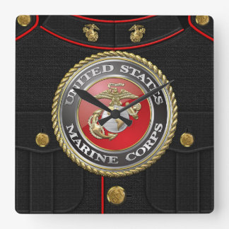 USMC Emblem & Uniform [3D] Square Wall Clock