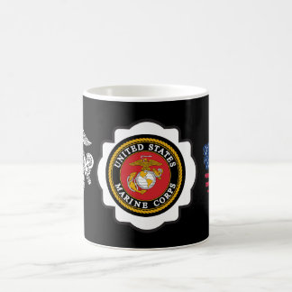 USMC Emblem, US Flag and Eagle, Globe and Anchor Coffee Mug