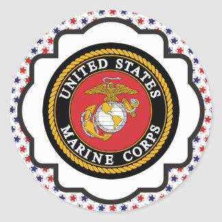 USMC Emblem with Red, White and Blue Stars Classic Round Sticker