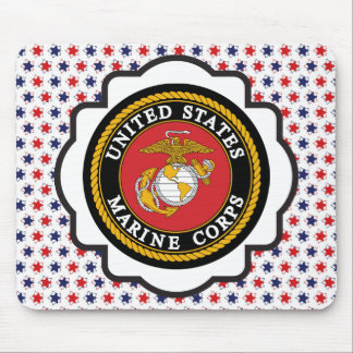 USMC Emblem with Red, White and Blue Stars Mouse Pad