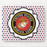 USMC Emblem with Red, White and Blue Stars Mousepad