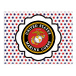 USMC Emblem with Red, White and Blue Stars Post Card