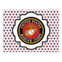 USMC Emblem with Red, White and Blue Stars Postcard
