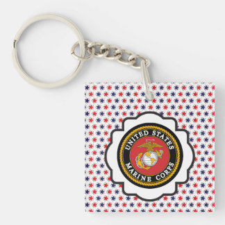 USMC Emblem with Red, White and Blue Stars Single-Sided Square Acrylic Keychain