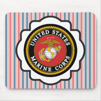 USMC Emblem with Red, White and Blue Stripes Mouse Pad