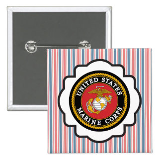 USMC Emblem with Red, White and Blue Stripes Pinback Button