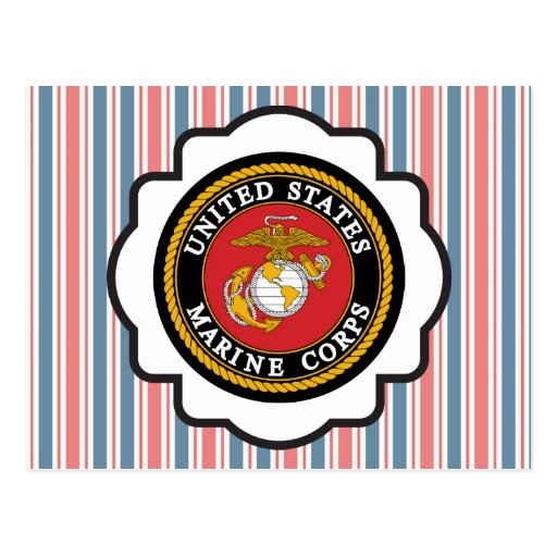 USMC Emblem with Red, White and Blue Stripes Postcard