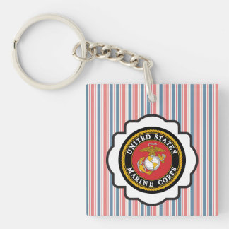 USMC Emblem with Red, White and Blue Stripes Single-Sided Square Acrylic Keychain