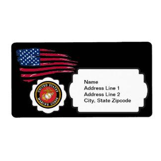 USMC Emblem with the US Flag Shipping Label