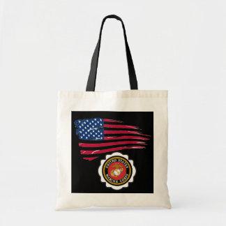 USMC Emblem with US Flag Tote Bag