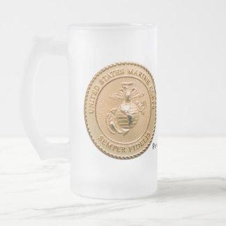 USMC - Hot or Cold 16 Oz Frosted Glass Beer Mug