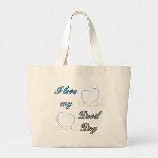 USMC I Love My Devil Dog Large Tote Bag