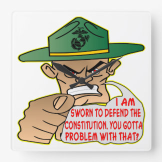 USMC I'm Sworn To Defend The Constitution Square Wall Clock