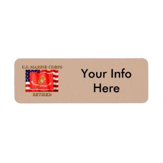 USMC jubilado Etiquetas De Remite