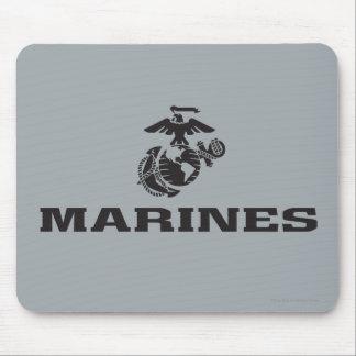 USMC Logo Stacked - Black Mouse Pad