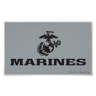 USMC Logo Stacked - Black Posters