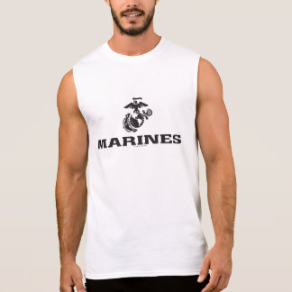 USMC Logo Stacked - Black Sleeveless Shirt