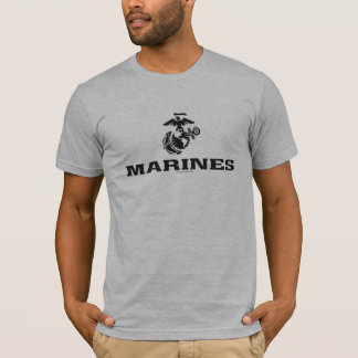 USMC Logo Stacked - Black T-Shirt