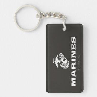 USMC Logo Stacked - White Keychain