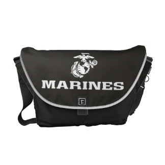 USMC Logo Stacked - White Messenger Bag