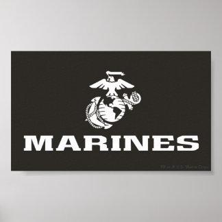 USMC Logo Stacked - White Poster