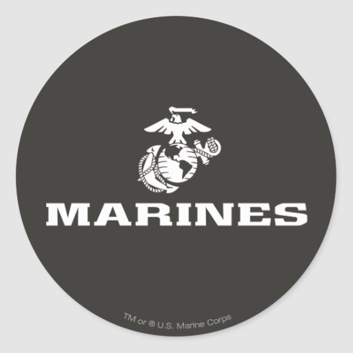 USMC Logo Stacked - White Round Stickers