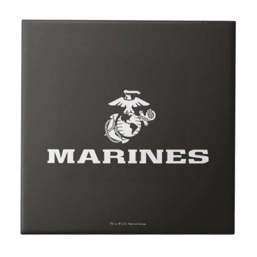 USMC Logo Stacked - White Tiles