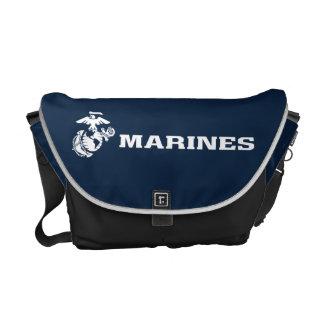 USMC Logo - White Messenger Bag