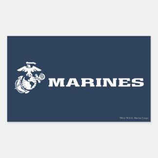 USMC Logo - White Rectangular Sticker